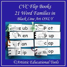 CVC Rhyming Word Family Flip Books - 21 Word families - Black Line Only