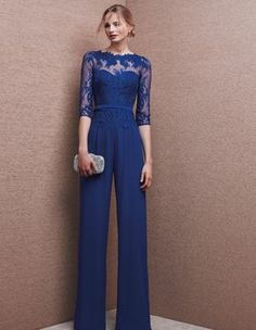 Blue Chiffon Wedding Evening Dresses Jumpsuits Mother Of the Bride Formal Gowns , Vestidos Color Azul, Royal Blue Pants, Style Haute Couture, Pantalon Costume, Look Fashion, Womens Fashion, Nice Dresses, Formal Dresses, Blue Cocktail Dress