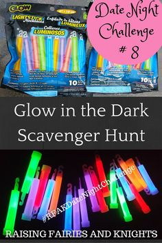 Date Night Challenge 8 - Glow in the Dark Scavenger Hunt - Time for #RFAKDateNightChallenge, easy dates you can do at home once the kids are in bed. Challenge hubby to a friendly competition!