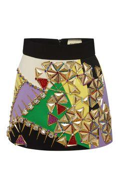 Embellished Multicolor Mini Skirt by Fausto Puglisi - Moda Operandi