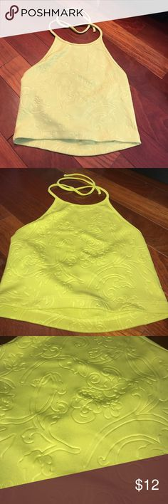 Forever 21 pasley print cropped halter ! Gorgeous mustard yellow cropped halter top and a low back for a sexy yet classy look! Only worn once! Size Small. Trying to get rid of summer clothes Forever 21 Tops Crop Tops
