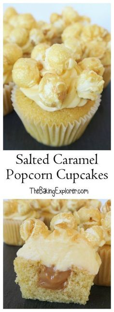 Recipe for Salted Caramel Popcorn Cupcakes. Vanilla sponge, with a hidden caramel centre, topped with salted caramel buttercream and decorated with toffee popcorn. Great for parties! Cupcake Icing Recipe, Cupcake Flavors, Cupcake Recipes, Baking Recipes, Dessert Recipes, Desserts, Cupcake Ideas, Popcorn Cupcakes, Baking Cupcakes