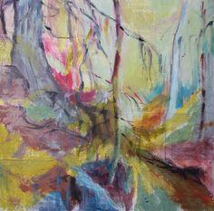 metsässä puron läheisyydessä sekatekniikka kankaalle