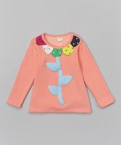 Salmon Flower Petal Collar Top - Toddler & Girls