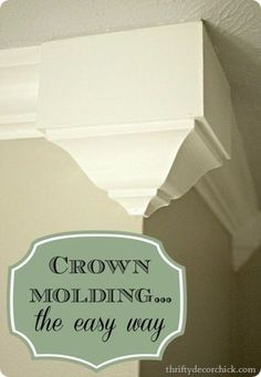 DIY Home Improvement Projects On A Budget - Add Crown Molding - Cool Home Improvement Hacks, Easy and Cheap Do It Yourself Tutorials for Updating and Renovating Your House - Home Decor Tips and Tricks, Remodeling and Decorating Hacks - DIY Projects and Crafts by DIY JOY http://diyjoy.com/diy-home-improvement-ideas-budget #homeimprovement #crownmoldingideas #homeimprovementtricks