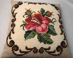 Beautiful Norwegian handmade embroidered floral cushion/pillow from the Floral Cushions, Cushion Pillow, Pillows, Pot Holders, Etsy, Unique Jewelry, Handmade Gifts, Beautiful, Vintage
