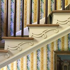 It's all in the details! Here at historic Boscobel in Cold Spring, New York we appreciate the craftsmanship of the delicate scroll on the stair stringer, the wood-block printed wallpaper, the expressive volute of the stair, the repeated patterns of plaster molding and circular crystals in the period chandelier.  #classicalarchitecture #classicism #classical #traditionalarchitecture #traditional #architecturelovers #classicdesign #architecturaldetail #archidaily #archilovers #instaarchitecture #a Classical Architecture, Architecture Details, Interior Trim, Interior Design, Stairs Stringer, Georgian Interiors, American Interior, Wood Blocks, Valance Curtains