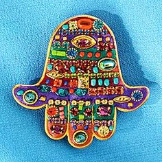 Multicolored Crystal Hamsa Pin