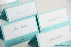 ♥ Robins Egg Blue Wedding Place Cards, Aqua Weddings, Elegant Wedding Escort Cards, Seating Assignment- Set of 12 ♥   These place cards are absolutely gorgeous! The listing price is $1.50 per place card and the minimum order is 12. These place cards are made of 65lbs card stock. OTHER COLORS AVAILABLE.  ♥ Matching table numbers, wedding menus, wedding programs, wedding signs, and other wedding stationery are available. *Please note that these place cards are 100% handmade. We design, cut and…