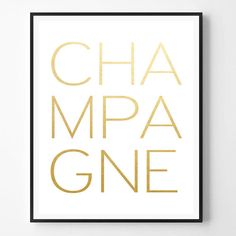Champagne Quote Print Kitchen print Gold foil by ScandiHomeDesign