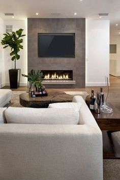 Simple Living Room, Living Room With Fireplace, Living Room Grey, Living Room Modern, Home Living Room, Living Room Designs, Living Room Decor, Apartment Living, Small Living