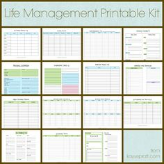 Life Management Printable Kit Includes these 15 printables: Auto Maintenance Log Account Tracker Cleaning Schedule Daily Schedule Emergency Info Exercise Log Inspirational Tidbits Master Project List Meal Planning Calendar Online Password Tracker Birthday