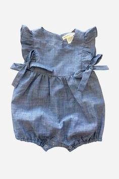 3a6835aeb3 Anthem of the Ants Mia Ruffle Baby Romper - Indigo from Mini Ruby Baby Girl  Romper