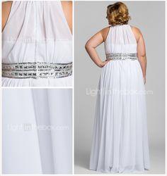 Plus Size Sheath/Column High Neck Floor-length Chiffon Stretch Satin Evening/Prom Dress - USD $ 69.99