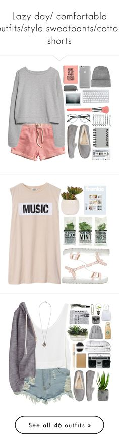 """Lazy day/ comfortable outfits/style sweatpants/cotton shorts"" by lydiamckx ❤ liked on Polyvore featuring H&M, MANGO, Bdellium Tools, Case-Mate, Topshop, UGG Australia, Crate and Barrel, BOBBY, Paperchase and bedroom"