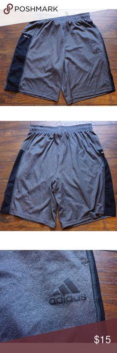 Men's Adidas gray shorts Climacool M Men's medium. Adidas shorts. Climacool fabric. Mesh panels at sides. Two hip pockets. Unlined. Elastic waistband w drawstring. No flaws. Adidas Shorts