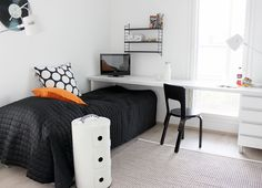 Long desk surface runs over foot of bed, saving space. Boys Bedroom Curtains, Boys Bedroom Decor, Bedroom Furniture, Interior Design Inspiration, Room Inspiration, Boy Room, Kids Room, Scandinavian Style Home, Teenage Room