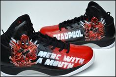 Deadpool Shoes Comic Custom Shoes Deadpool Shoes for by PricklyPaw