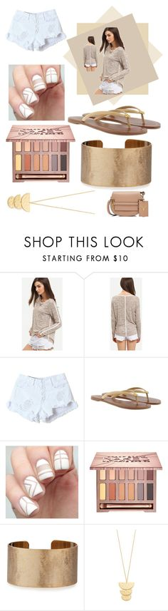 """""""The Sand"""" by pinkstars6 ❤ liked on Polyvore featuring Tory Burch, Urban Decay, Panacea, Gorjana, Valentino, sandals, beach and Tan"""