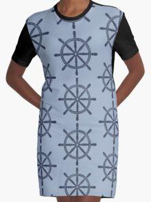 Nautical Wheel Graphic T-Shirt Dress