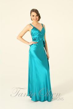 Make a statement in this stunning Turquoise silk slinky formal dress bias cut satin finish, perfect as a formal dress or evening dress.