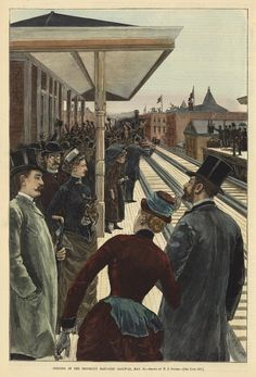 """Harper's Weekly, c.1885. Illustration captioned: """"Opening of the Brooklyn Elevated Railway May 13"""". American artist/illustrator: W. P. Snyder. ~ {cwlyons} ~ (Image: The Old Print Shop)"""