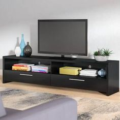 Latitude Run Benson TV Stand for TVs up to 85 inches , Living Room Tv, Living Room Furniture, Open Shelving, Adjustable Shelving, Tv Stand Wayfair, Contemporary Tv Stands, Tv Stand Set, Tv Entertainment Centers, Living Room Arrangements