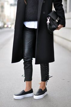 Monochrome at it's best | black leather pants | White a Shirt | Black coat and fuzzy knit | Classic bag #streetstyle