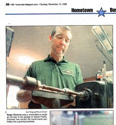 Here is a Fort Worth Star-Telegram photo showing how I craft wood pens and deer antler pens on the lathe. Custom Gifts, Customized Gifts, 5 Year Anniversary Gift, Star Wars, Custom Writing, Deer Antlers, Corporate Gifts, Custom Wood, Fountain Pens