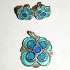 Vintage David Andersen Norway Sterling Enamel Flower Pendant, Earrings Set