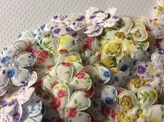 10 Padded Floral Print Flower Appliques by creationandsupplies, $2.25
