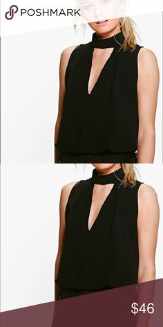 "Black Mock neck plunge sleevless blouse Size S/6 100% Polyester. Flat Measurement of Garment Not Worn. Total Length 67cm/27"" aprox, Machine Washable. Model wears US XS ASOS Tops Blouses"