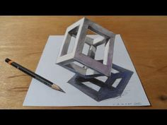 How to draw a cube? Awesome trick art on paper. drawing the standing cube at it's peak. Trick art g. 3d Pencil Art, 3d Pencil Drawings, 3d Art Drawing, Color Pencil Art, 3d Painting, Painting Lessons, Art Lessons, Easy Graffiti Drawings, Art Drawings For Kids