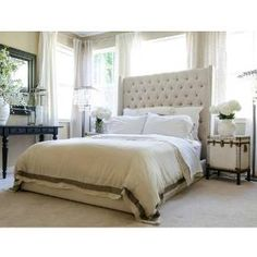 Check out the Elements Fine Home Furnishings CHE-KB-SEAS-7 Chelsea Tall Panel Headboard King Bed in Seashell