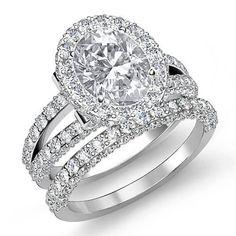 Bridal-Set-Oval-Diamond-Vintage-Pave-Engagement-Ring-GIA-F-SI1-Platinum-3-6-ct