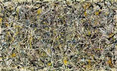 """Jackson Pollock's mural-size """"drip"""" paintings met with mixed reactions when they debuted at the Betty Parsons Gallery in New York City in 1948."""