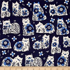 Cotton + Steel From Porto With Love Sushi's Antiques Navy from @fabricdotcom  Designed by Sarah Watts for Cotton + Steel, this cotton print is perfect for quilting, apparel and home decor accents. Colors include navy, cream and blue.