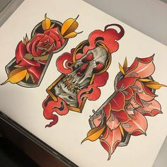 Discover recipes, home ideas, style inspiration and other ideas to try. Traditional Tattoo Flowers, Traditional Tattoo Old School, Traditional Tattoo Design, Traditional Tattoos, Tattoo Design Drawings, Tattoo Sketches, Tattoo Designs, Skull Rose Tattoos, Body Art Tattoos