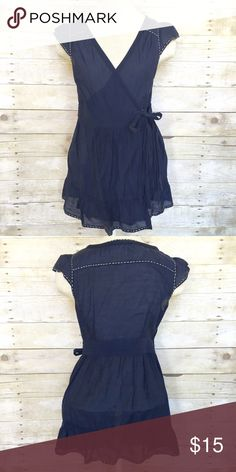 Miss Me navy wrap around blouse Small Miss Me navy blue 100% cotton silk wrap around blouse with white pick stitching. Size small. Excellent used condition. Miss Me Tops Blouses