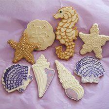 Seashells, seahorse cookies