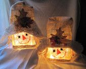 Handpainted scarecrow lighted glass block