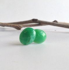 Green Stone Stud Earrings Chrysoprase Studs Colorful Oval