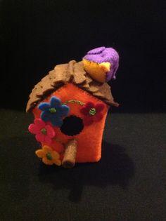 Handmade felt birdhouse pincushion
