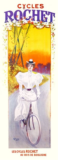 Cycles Rochet by Tichon 1900 France - Beautiful Vintage Poster Reproduction. French transportation poster features a woman in a white dress riding a bike down a country road at sunset. Giclee Advertising Print. Classic Posters