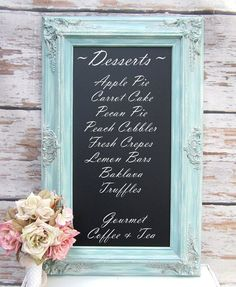 CHALKBOARDS FOR WEDDINGS Framed Chalkboard Magnetic Blackboard Chalk board French Country Kitchen Baroque Framed Shabby Chic Home Office on Etsy, $124.00