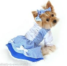 Pet Dog Cat Dorothy Wizard of Oz Halloween Fancy Dress Costume Outfit Clothes