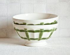 Vintage french café au lait bowl Digoin green torchon pattern    #etsyfinds #teamone #vintage