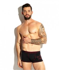 Red & Black Industry boxer brief from Diesel, square-cut for comfort and style