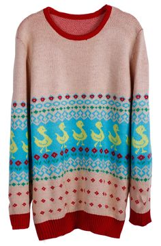 Red Round Neck Duck with Flowers Pattern Sweater