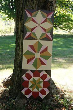 All Seasons Triplet Barn Quilts 1 X 3 by BarnQuiltsPotterCo Barn Quilt Designs, Barn Quilt Patterns, Quilting Designs, Painted Barn Quilts, Quilt Storage, Wooden Barn, Barn Wood Signs, Barn Art, Wall Hanger